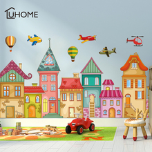 Cartoon Castle Helicopter Hot Air Balloon Wall Stickers for Kids Room Kindergarten Wall Decal Children Room Baseboard Wallpaper