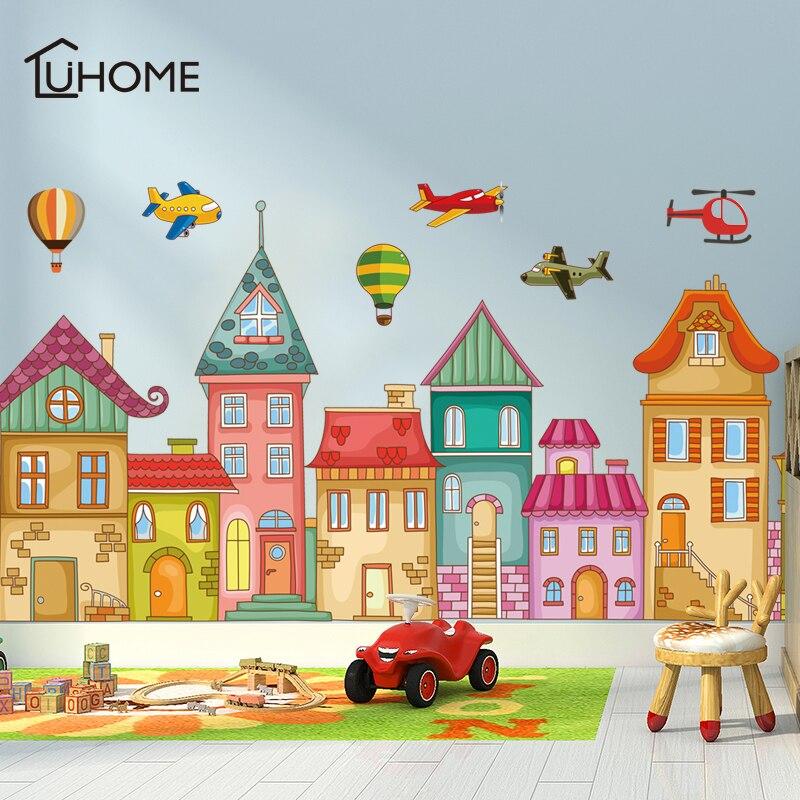 Castelo dos desenhos animados helicóptero balão de ar quente adesivos de parede para o quarto das crianças do jardim infância decalque da parede do quarto das crianças rodapé