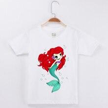 купить Mermaid T-shirt For Girls Tops Tee Cotton Short Sleeve White T shirt Children Clothing Baby Girl Clothes Camisetas Free Shipping онлайн
