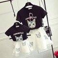 Мать и дочь платье кошка черная футболка белый органзы юбка одежды семьи мама и девочка одежда набор семья matching outfit