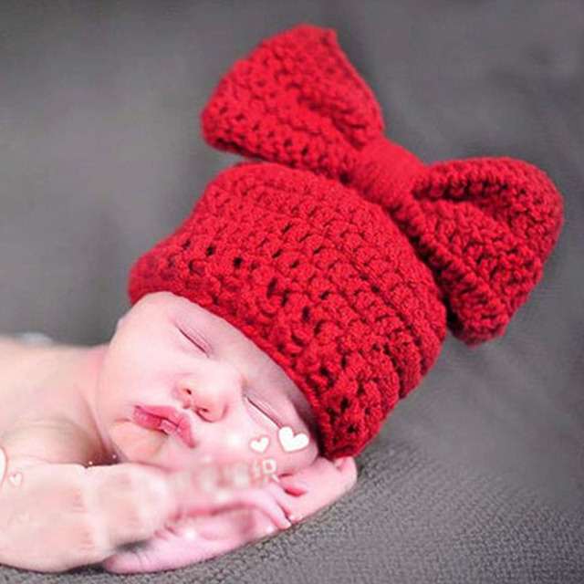 f7021c221c1 Big Bow knot Crochet Children s Hat Hand Knitted Baby Winter Cap Newborn  Photography Props H089