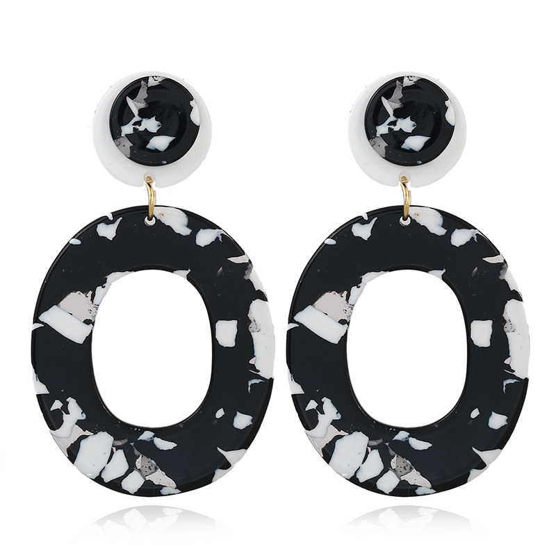 New Trendy Bohemia Colorful Circular Geometry Acrylic Stud Earrings For Women Tortoiseshell Black Earrings Jewelry Brincos AE224