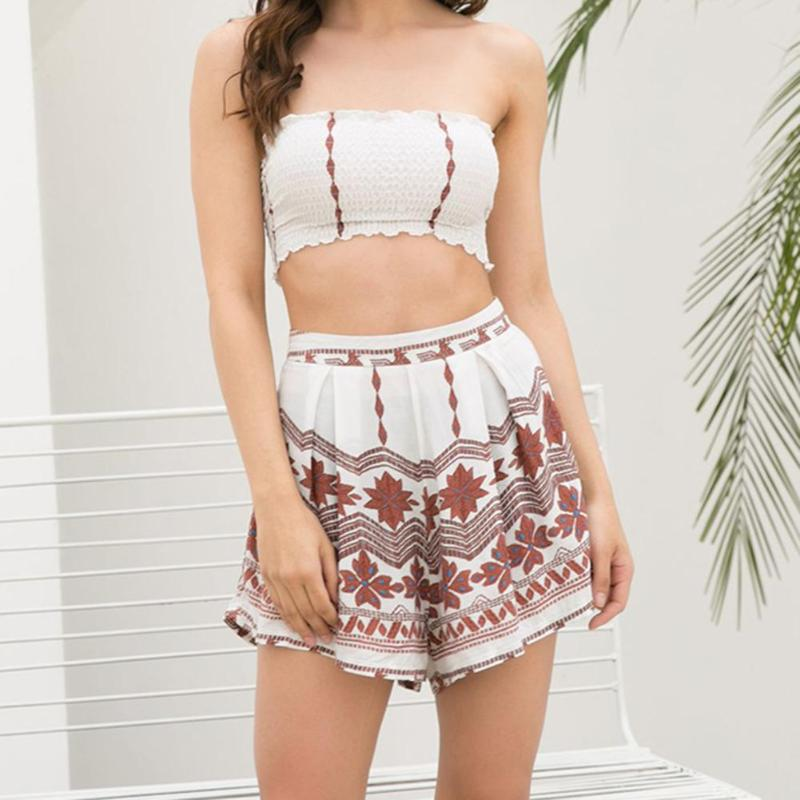 Sexy Women Two Piece Floral Beach Vacation Travel Ladies Cropped Top Skirt Shorts Outfits Set Girls Fashion Summer Vacation Sets