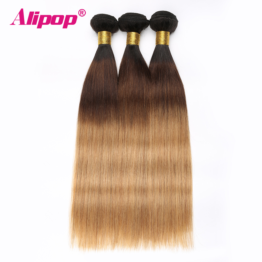 Ombre Brazilian hair Straight 3 Bundles 3 Tone 1B427 Colored Human Hair Weave Bundles Deal Non Remy Hair Extensions ALIPOP (4)