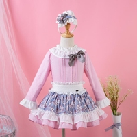 Pettigirl Wedding Pink Girls Clothing Sets O Neck Long Sleeves Top With Bow+Flower Skirt With Headwear Clothes G DMCS103 B228