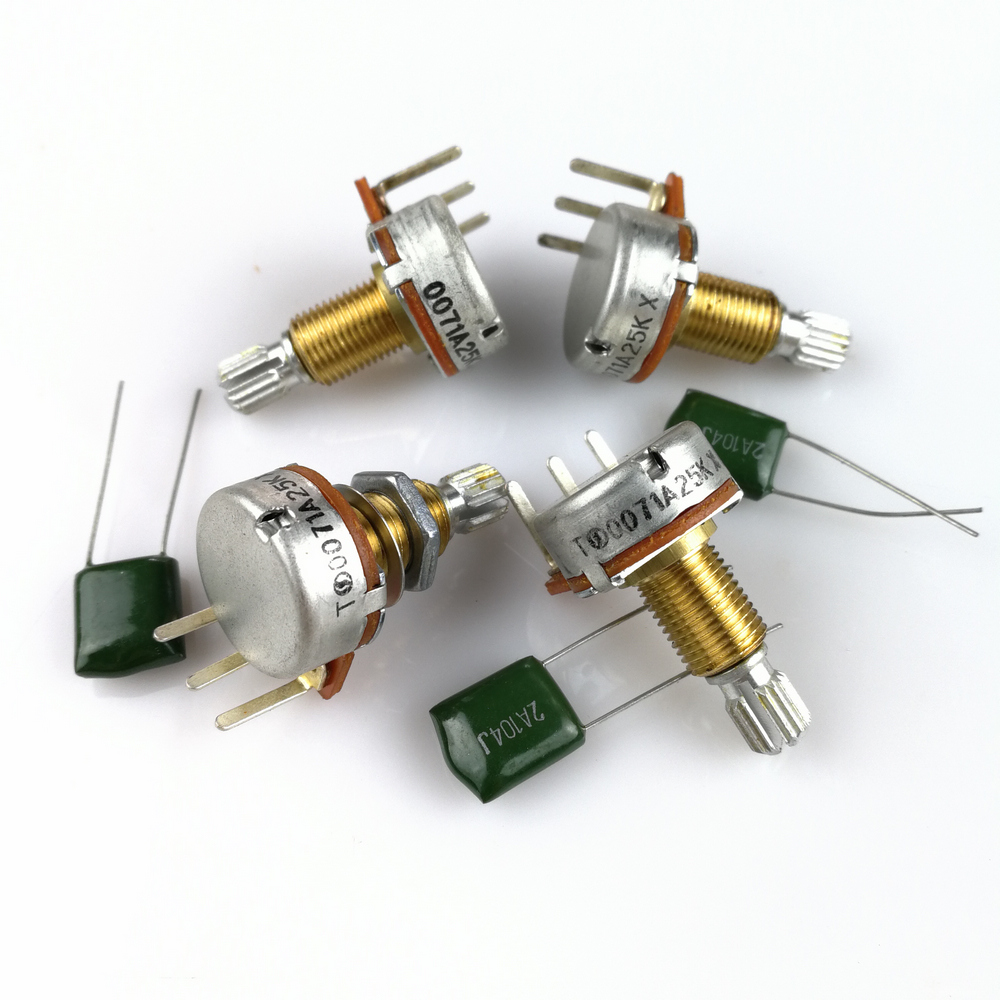 1 piece brass shaft a25k potentiometer(pot) for electric guitar bass active  pickup tq 25k