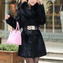 Мех пальто женщин пальто зимнее верхняя одежда поддельные меха кролика искусственного меха лисы с капюшоном женская мода долго дизайн черный outcoat