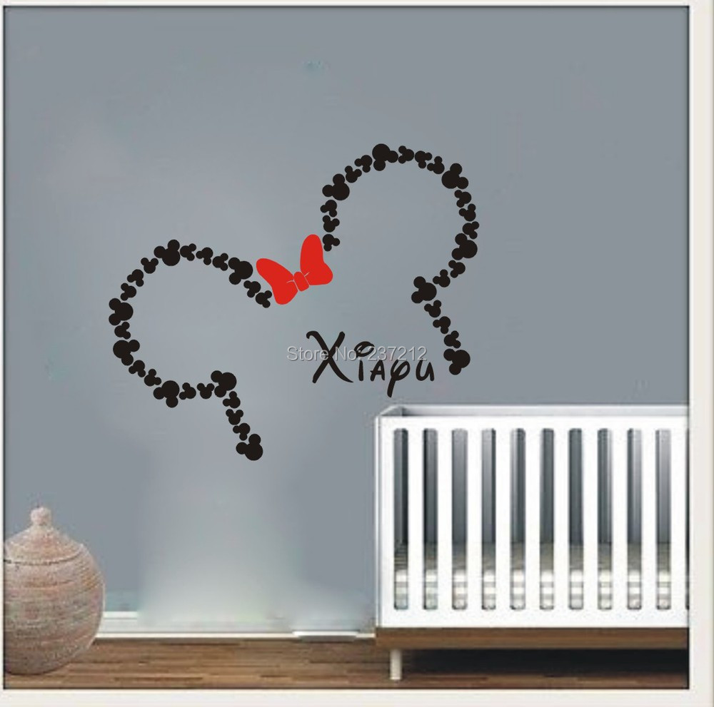 Wall Decal Vinyl Sticker Decals Art Decor Design Custom Baby Name Head Mice  Ears Mickey Minnie Mouse Gift Kid Children Nursery