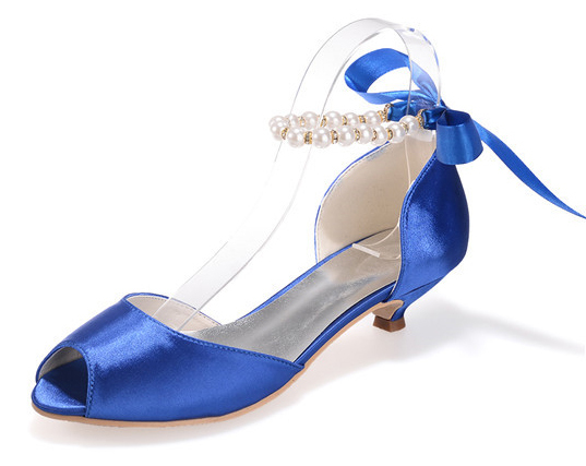 À Chaton Deux Sangle Peep Pièce Talon Satin Cheville Chaussures Mariage W Dames Ouvert Toe Élégant ruban De Bout D'osay Creativesugar Arc Perle S0Iq5B