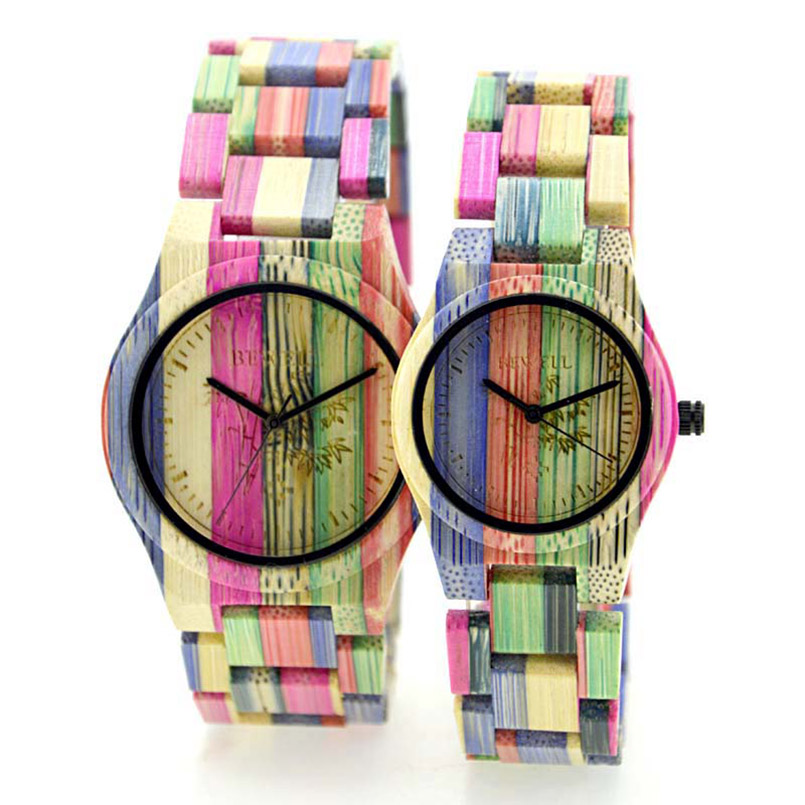 BEWELL Lover's Watch for Men Women Bamboo Wooden Watch Colorful Strap Fashion and Casual Design Perfect Gift for Couple W105D
