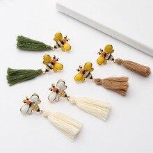 Temperament Tassel Fringed Enamel Bee Long Earrings For Women Cute Insect Ear Piercing Fashion Jewelry Brincos