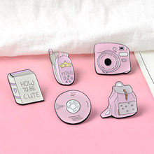 Cartoon Pink Daily Supplies Book Record Disc Polaroid mobile Phone brooches Bag Clothes Badge Enamel Lapel Pins for Cute Girls(China)