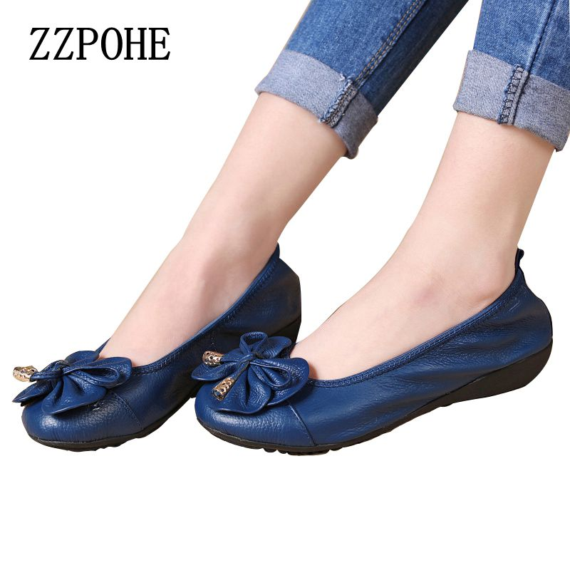 ZZPOHE 2017 Spring new Female leather comfortable shallow mouth bow women single shoes fashion soft soled mother flat shoes 2017 the new european american fashion horn bow pointed mouth shallow comfortable flat sheet metal red shoes tide size 35 41