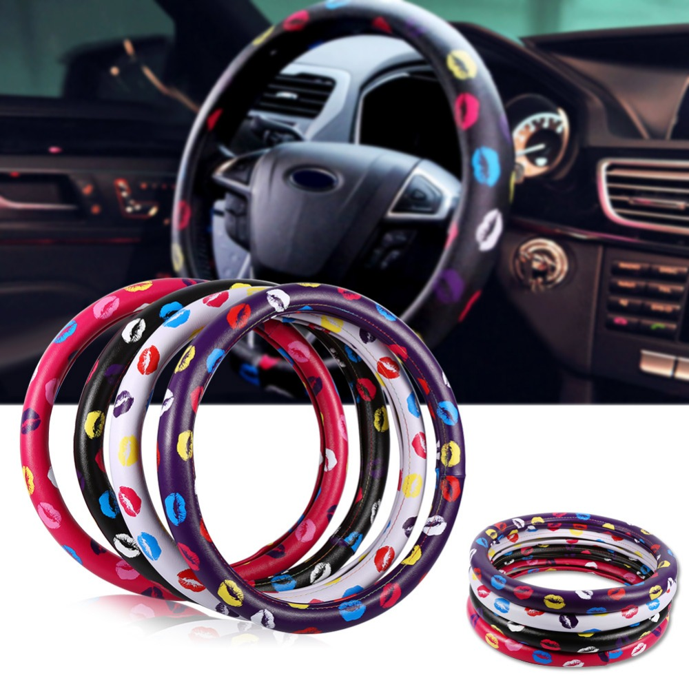 38cm15'' PU Leather Car Steering Cover Lovely Lip Pattern Case Protector Rose Red  Black  White  Purple