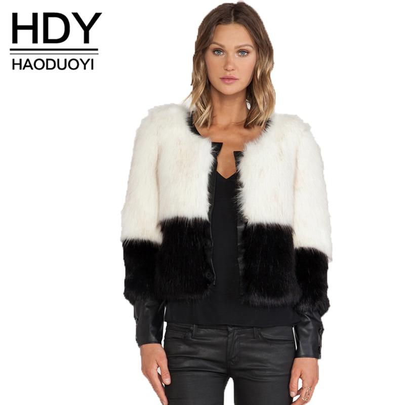 HDY Haoduoyi женская зимняя Черная куртка из искусственного меха с длинным рукавом из искусственного меха Верхняя одежда женская короткая стиль...