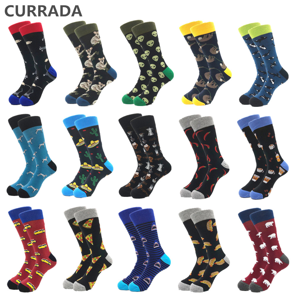 16colors Men Socks Combed Cotton High Quality Animal Cartoon Funny Socks Autumn Winter Warm Sock Casual Calcetines Largos Hombre