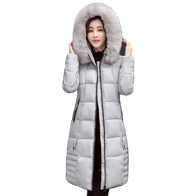Women Winter Jacket Hooded With Big Fur Collar Female Coat Long   Parkas   Outwear Warm Thicken Casaco Feminino Inverno Warm