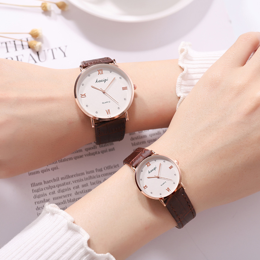 Fashion high quality couple watches quartz casual brief minimalism luxury brand lover's watch leather strap women watches