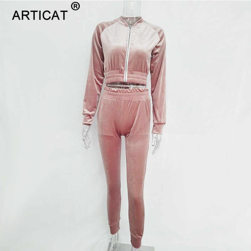 Articat осень комплект из двух предметов бархатный комбинезон Для женщин с длинным рукавом на молнии, зимняя обувь Спортивный костюм-боди Повседневное тянущийся короткий топ комбинезоны для девочек