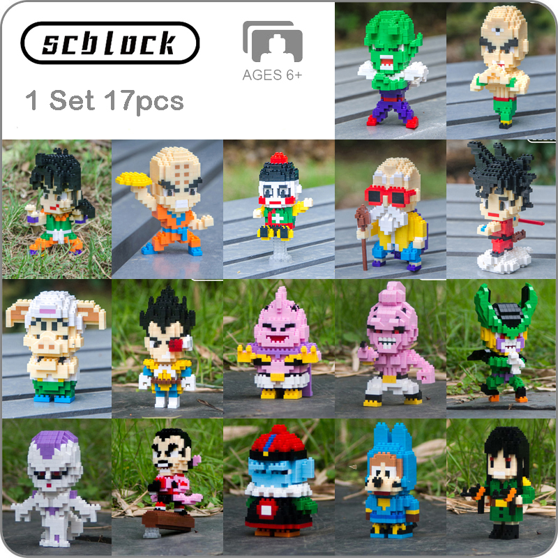 SC Anime Dragon Ball Z Son Goku Super Saiyan Vegeta Frieza Majin Buu Cell DIY Mini Building Diamond Small Blocks Toy New In Bags