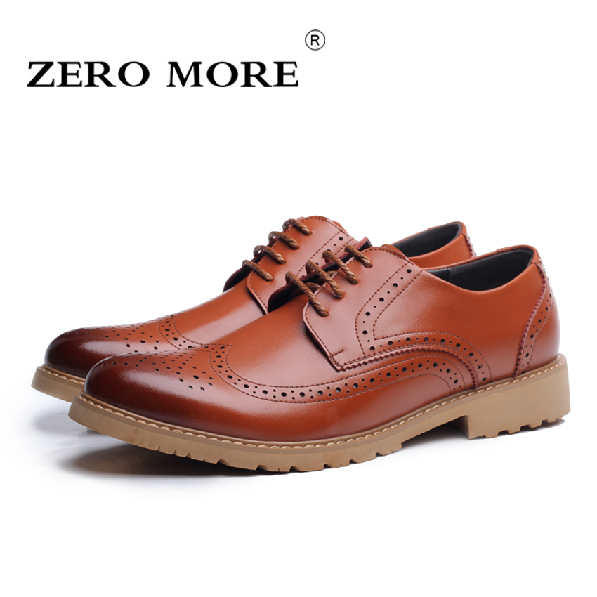ZERO MORE High Quality Men Brogue Shoes British Style Carved Split Leather Shoes Lace-Up Business Mens Shoes SIZE 38-44 black leather british style carved men brogue shoes pointed toe lace up flat men bussiess dress men shoes high quality