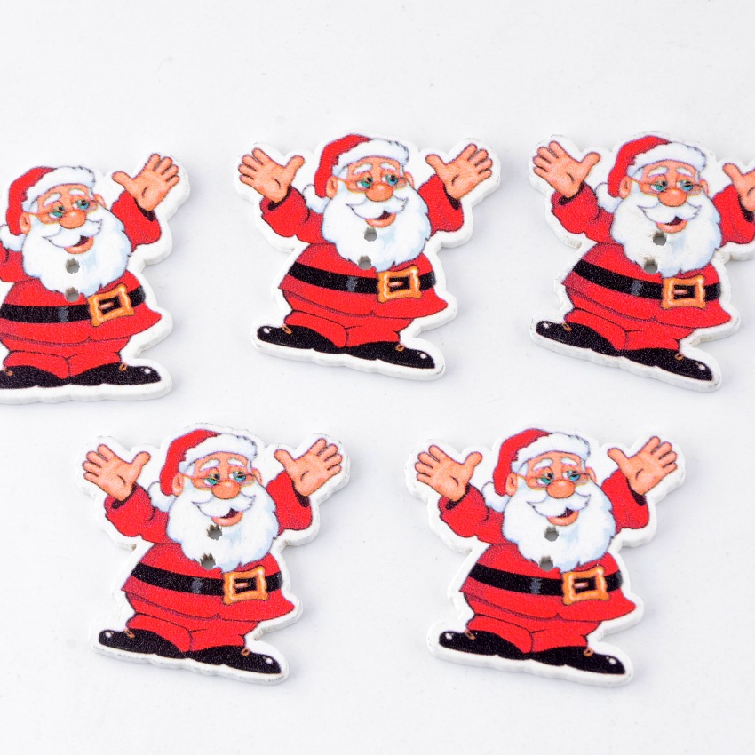 5 x CHRISTMAS SANTA SHAPED BUTTONS Size 34L ~approx 20mm x 18mm ~ CRAFT//CHILDREN