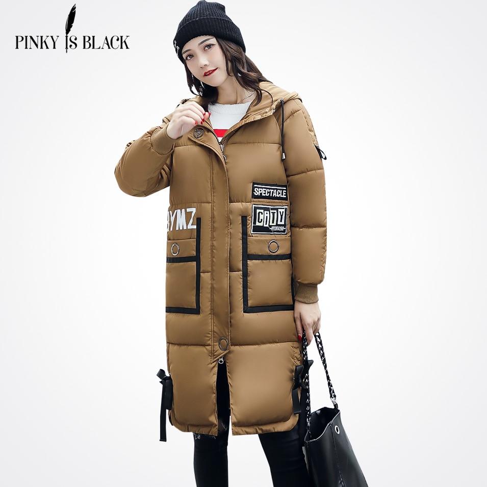Pinky Is Black 2017 Winter Jacket Women Letter Pockets Tide Winter And Autumn Warm Parkas Winter Jackets Outwear Women Long Coat