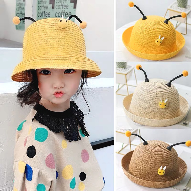 Little Bee Cartoon Hats Children Hand-woven Straw Hats Party Hat Kids Girl Cosplay Cute Bee Cartoon Hats For An Outdoor Picnic Cleaning The Oral Cavity.