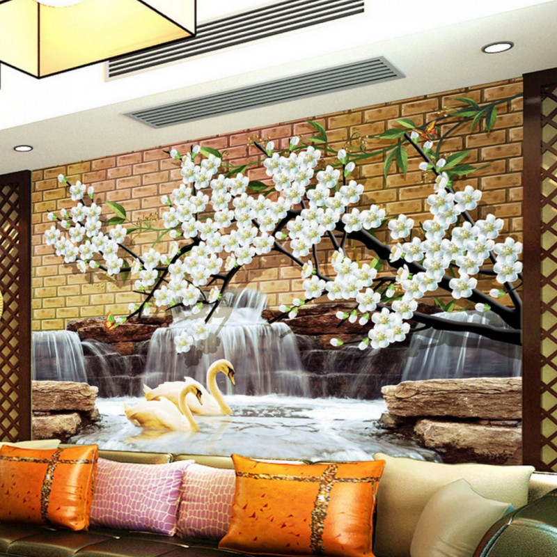 Photo Wallpaper 3D Chinese Fountain Wall Tile Falls Living Room Mural Custom Bedroom