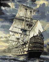 No Frame Sailing Boat DIY Painting By Numbers Drawing Painting By Numbers Kits Paint On Linens