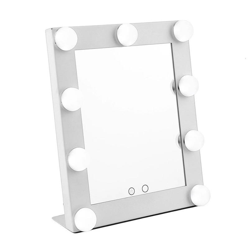Hollywood Style Portable Makeup Mirror Lighted Illuminated Cosmetic Vanity Mirror With 9 x 3W Super Bright Bulbs 10x Spot Mirror