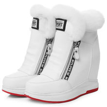 Trainers Shoes Women Creepers Cow Leather Wedges High Heel Ankle Boots Top Rabbit Fur Platform Pumps Winter Punk Sneakers