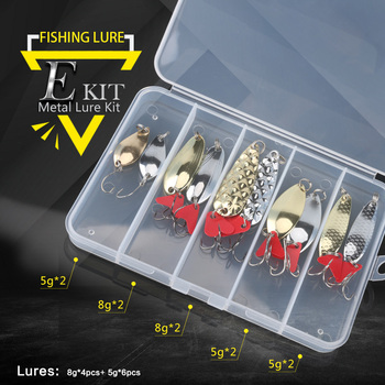 Metal spoon fishing lure kit set g