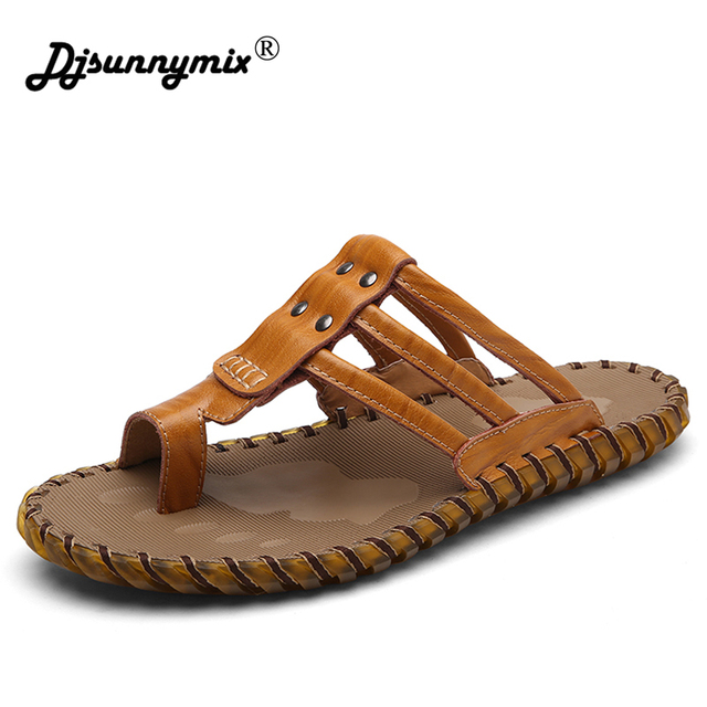616d5db2d9d4f6 DJSUNNYMIX Luxury Brand 2018 New Men s Flip Flops Genuine Leather Slippers  Summer Fashion Beach Sandals Shoes For Men