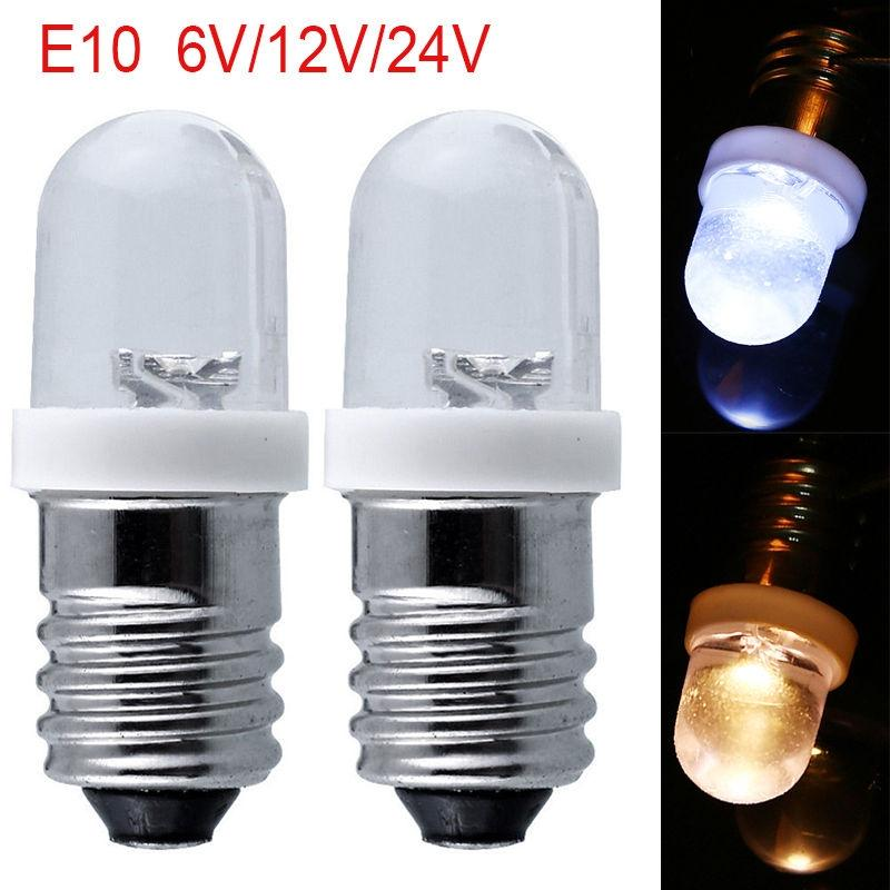 AKDSteel E10 Light Bulbs DC 6/12/24V LED Screw Base Indicator Bulb Mini Warning Automobile instrument lamp Width Signal Lamp