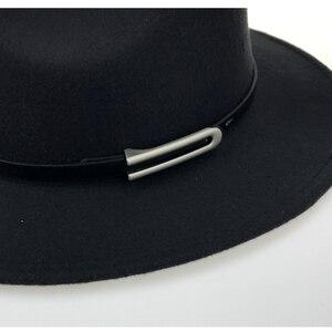 Image 5 - Brede Rand Herfst Trilby Caps Vrouwelijke Mannelijke Mode Top Hat Jazz Cap Winter Panamahoed Vintage Fedora Mannen Mafia Hoed Vilt YY17294