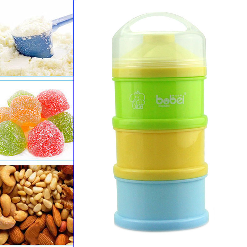 Portable Newborn Infant Milk Powder Container 3 Layers Baby Feeding Food Bottle Dry Fruits Snacks Candy Storage Box M09