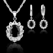 JEXXI Black Oval CZ Jewelry Sets 925 Sterling Silver Pendant Necklace+Hoop Earring Princess Wedding Engagement For Women