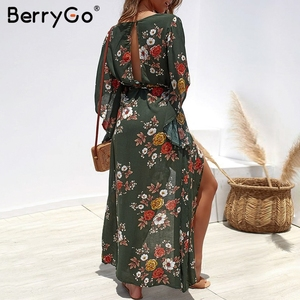 Image 4 - BerryGo Boho floral print women long dress Summer dresses asymmetrical sleeve sashes split chiffon dresses beach female vestidos