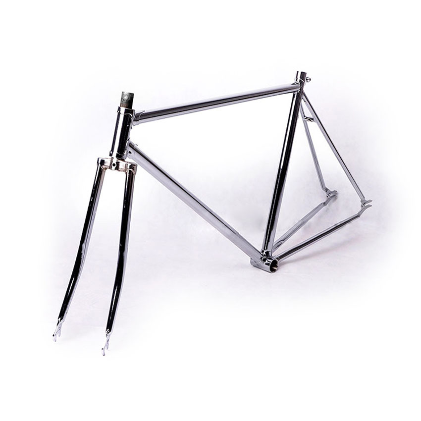 700C frame 52cmsliver fixed gear bike frame 2015 promotion road bicycle frame plated steel frame sliver plating fork цена и фото