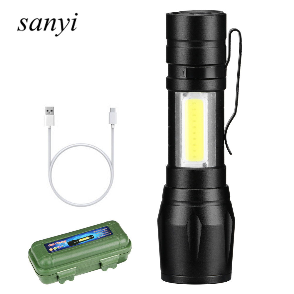 USB Rechargeable XPE+COB LED Zoomable Flashlight Torch Lamp Linternas Built In Battery With USB Cable Gift Box