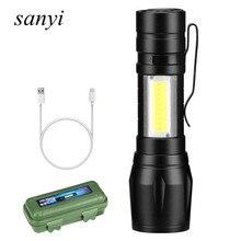 Xpe + cob usb recarregável lanterna led, com zoom, bateria integrada, com cabo usb, caixa de presente