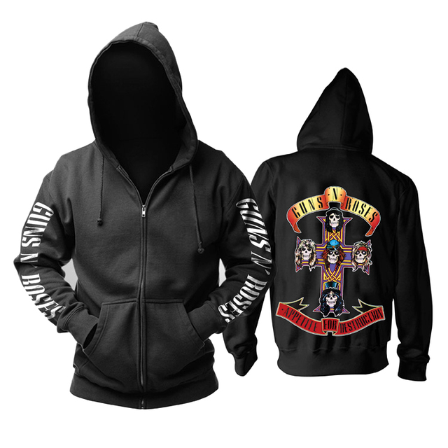 26 Ontwerpen Guns N Roses Sweatshirt Gnr Katoen Rock Rits Hoodies Shell Jas Guns N Roses Punk Hardrock Heavy Metal sudadera