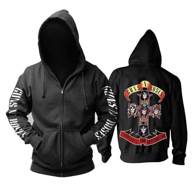 26 designs Guns N Roses Sweatshirt GNR Cotton Rock zipper hoodies shell jacket Guns N' Roses punk hardrock heavy metal sudadera