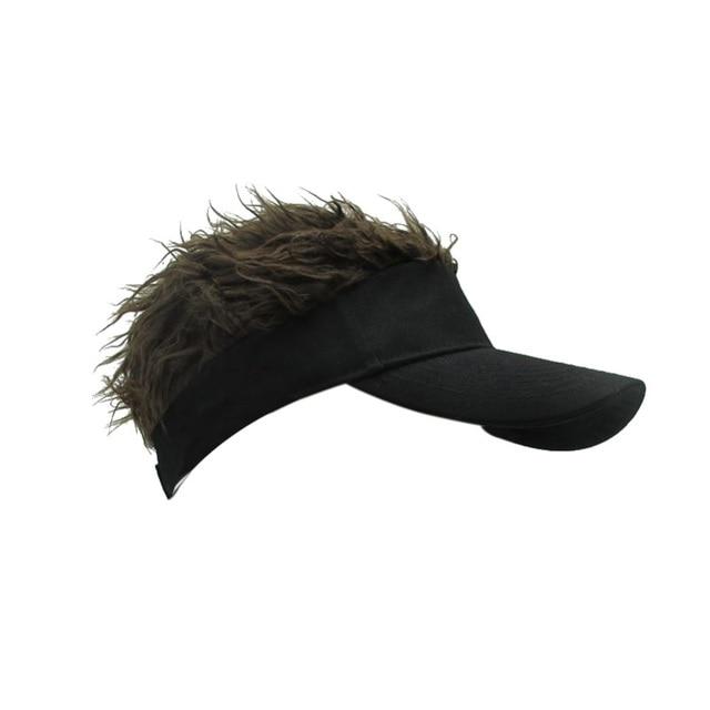 d82e44b951b Outdoors Funny Hair Loss Cool Gifts Men Cap Fake Flair Hair Sunshade Sport  Male Female Wig