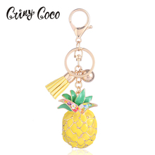 Cute Enamel Key Chains Alloy Yellow Pineapple Key Chain Car Key Holder Jewelry Accessories For Girl Gift Charm Key Chains