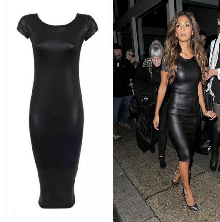 ee8e6113699 Sexy Party Bodycon Women's O-Neck Clubwear Leather Short Sleeve Midi Dress  Black Fashion Women Bandage Dress Ladies' PU Dress