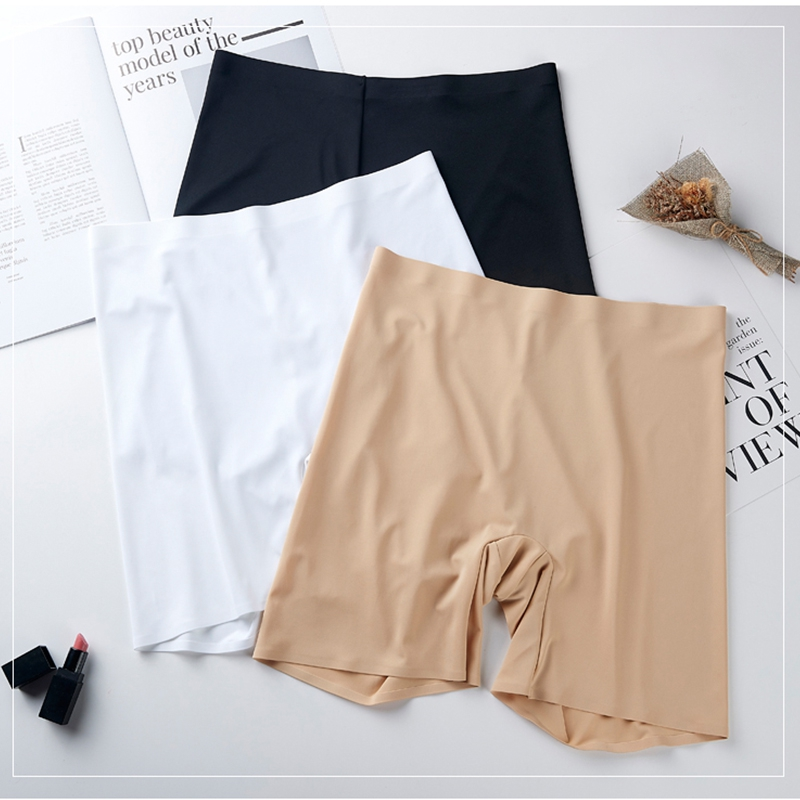 New Summer Thin Women Large Size Safety Shorts Ice Silk Cool High Elasticity Plus Size Safety Pants Shorts Under Skirt Female