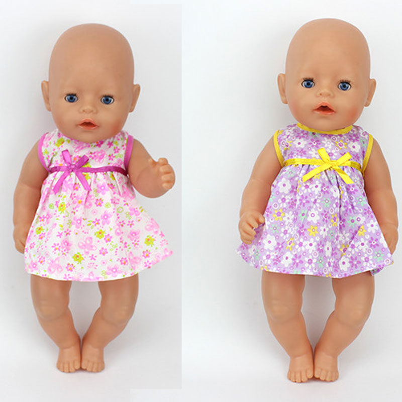 2color choose Doll Accessories leisure short dress Wear fit 43cm Baby Born zapf, Children best  Birthday Gift(only sell clothes) 4color choose set clothes hairbrand wear fit 43cm baby born zapf children best birthday gift only sell package