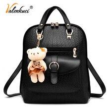 Valenkuci 2017 известный бренд рюкзак женщин рюкзаки твердые vintage девушки школьные сумки для девочек черный кожаный рюкзак BD-197
